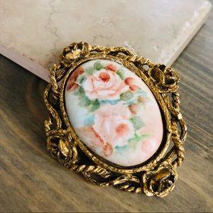 Vintage Ceramic Floral Brooch